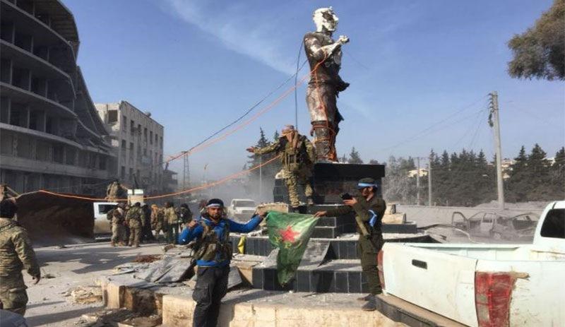ÖSO ilk iş Demirci Kawa'nın heykelini yaktı